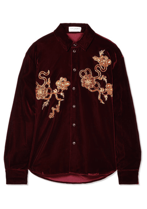 SAINT LAURENT - Embellished Velvet Shirt - Burgundy