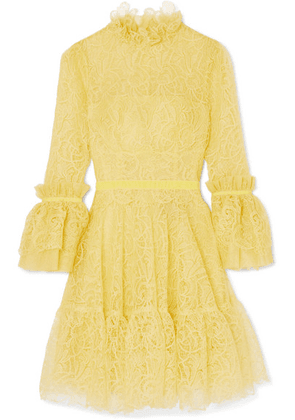 Costarellos - Velvet-trimmed Ruffled Corded Lace Mini Dress - Yellow