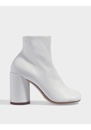 High-Heeled Ankle Boots in White Calfskin