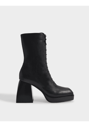 Bulla Lace Up Boots in Black Lamb Leather
