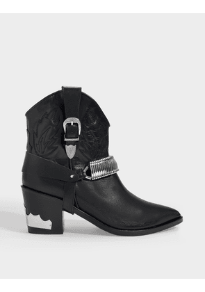 Western Ankle Boots In Black Leather