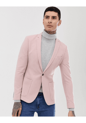 ASOS DESIGN super skinny blazer with puppy tooth check in wool mix