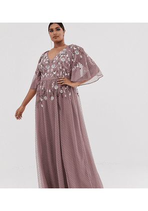 ASOS DESIGN Curve flutter sleeve maxi dress with summer floral embroidery