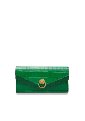 Mulberry Harlow Long Wallet in Emerald Green Croc Print