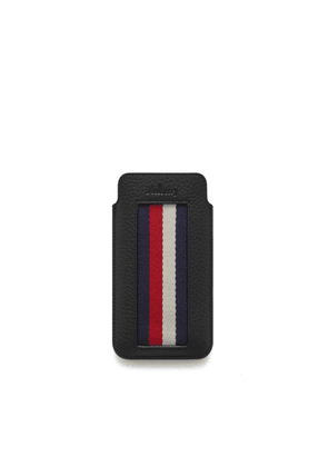 Mulberry iPhone Cover and Card Slip in Black Heavy Grain with Stripes