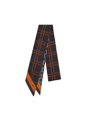 Mulberry Double Sided Bag Scarf in Dark Navy Octagon