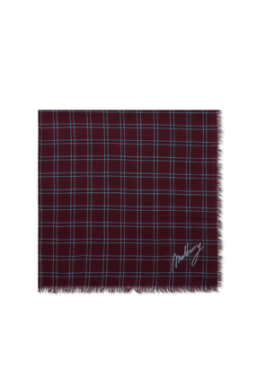 Mulberry Tri Check Square in Burgundy Wool