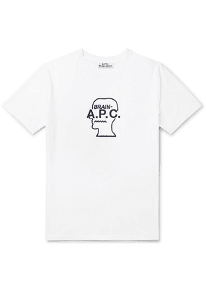 A.P.C. - + Brain Dead Logo-embroidered Cotton-jersey T-shirt - White