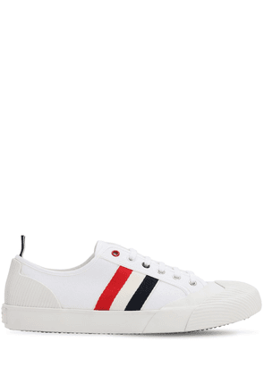 Striped Cotton Blend Canvas Sneakers