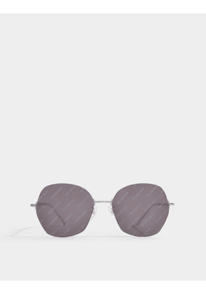 Sunglasses in Silver Metal with Monogrammed Anthracite Lenses