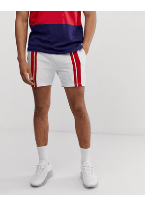 ASOS DESIGN jersey skinny shorts in shorter length with stripes in white