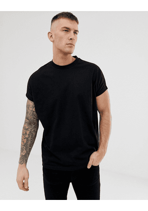 ASOS DESIGN oversized longline t-shirt with crew neck and roll sleeve in black