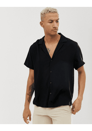 ASOS DESIGN relaxed viscose shirt with low revere collar in black