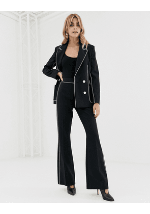 ASOS DESIGN slim suit flare with contrast piping