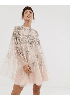 ASOS DESIGN cape mini dress in linear and floral pearl and sequin