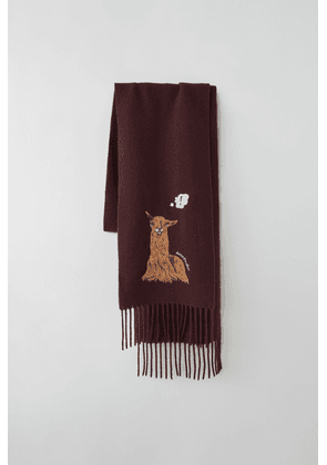 Acne Studios FN-UX-SCAR000025 Burgundy  Animal-embroidered skinny scarf