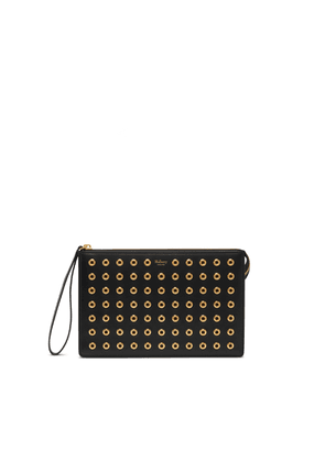 Mulberry Part Zip Pouch in Black Shiny Calf with Eyelets