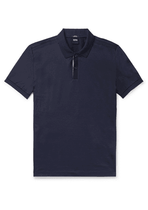 Hugo Boss - Slim-fit Contrast-tipped Cotton Polo Shirt - Navy