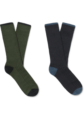 Corgi - Two-pack Ribbed Wool And Cotton-blend Socks - Multi