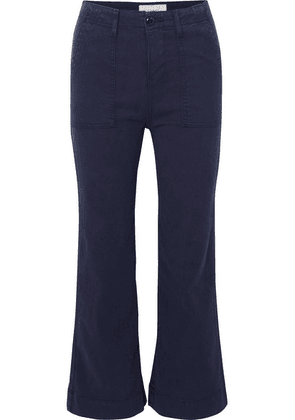 The Great - The Army Mariner Stretch-lyocell And Cotton-blend Flared Pants - Navy