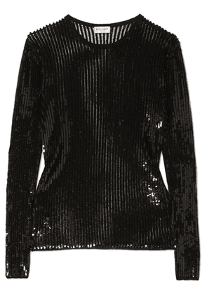 SAINT LAURENT - Sequined Linen And Silk-blend Top - Black