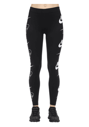 Logo Print Cotton Blend Leggings