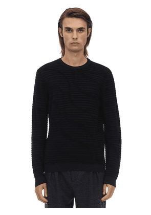 Crewneck Viscose Jacquard 3d Sweater