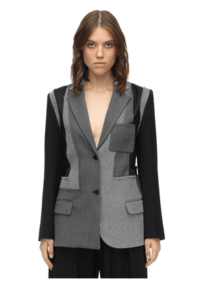 Tailored Patchwork Wool Crepe Jacket