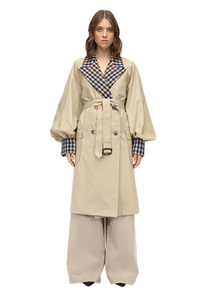 Check Cotton Canvas Trench Coat