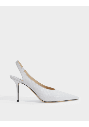 Ivy 85 Slingbacks in White Croco Embossed Leather