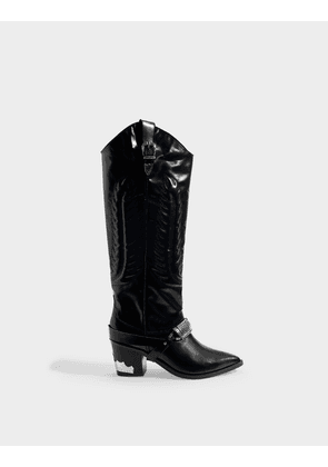 Western Boots In Black Leather