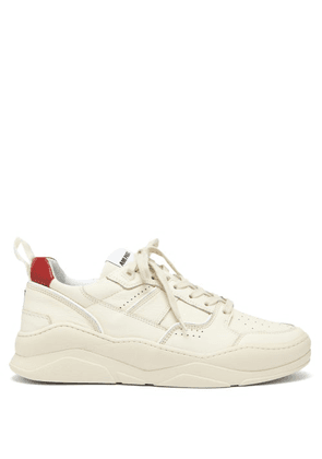 Ami - Logo Embroidered Leather Trainers - Mens - Cream Multi