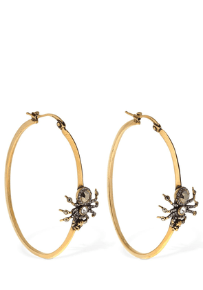 Crystal Spider Creole Hoop Earrings