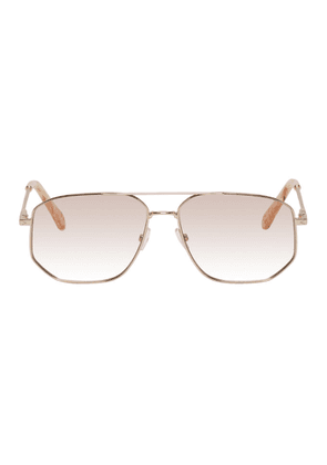 Chloe Gold and Pink Square Aviator Sunglasses