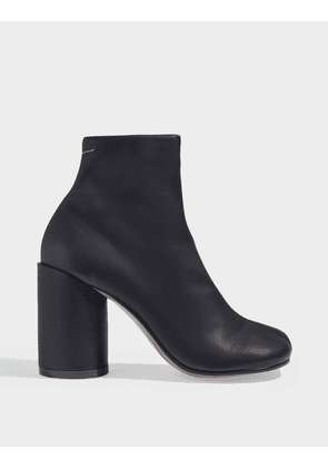 High-Heeled Ankle Boots in Black Calfskin