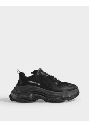 Triple S Clear Sole Sneakers in Black Leather and Mesh