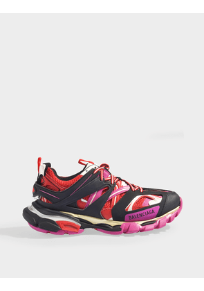 Track Sneakers in Black, Pink and Red Mesh and Nylon