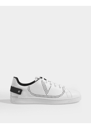 Low Sneakers with Go Logo Detail in White and Black Leather