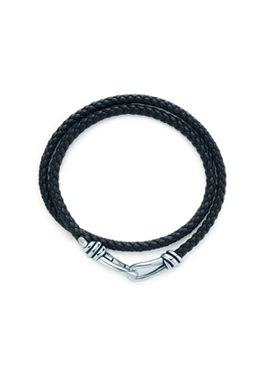 Paloma Picasso® Knot double braid wrap bracelet of leather and silver, large