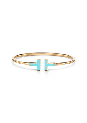 Tiffany T turquoise wire bracelet in 18k gold, small