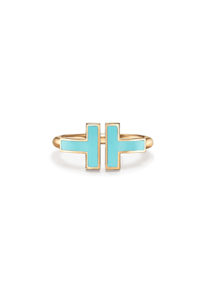 Tiffany T turquoise square ring in 18k gold - Size 4