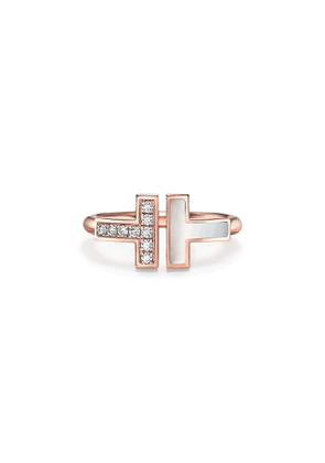 Tiffany T diamond and mother-of-pearl square ring in 18k rose gold - Size 4