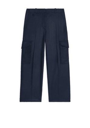 Wool Cashmere Cargo Trousers - Blue