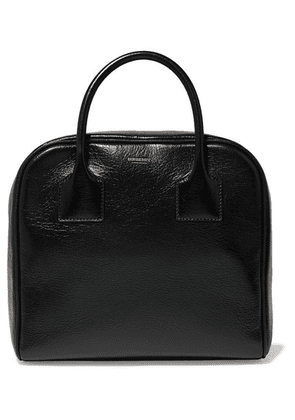 Burberry - Glossed Textured-leather Tote - Black