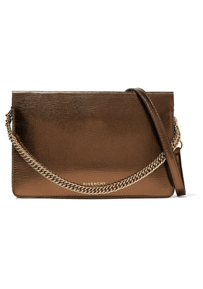 Givenchy - Gv Cross Metallic Textured-leather And Suede Shoulder Bag - Bronze