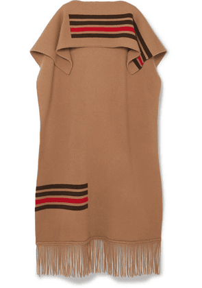Burberry - Leather-trimmed Fringed Striped Wool And Cashmere-blend Cape - Camel
