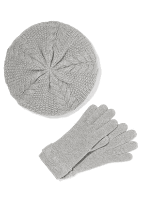 Portolano - Cable-knit Cashmere Beret And Gloves Set - Gray
