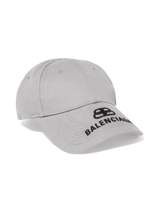 Balenciaga - Embroidered Cotton-twill Baseball Cap - Gray
