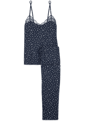 Eberjey - Bloom Lace-trimmed Floral-print Stretch-modal Jersey Pajama Set - Navy