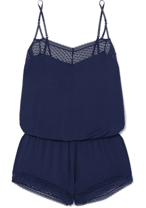 Eberjey - Addison Lace-trimmed Stretch-modal Jersey Playsuit - Navy